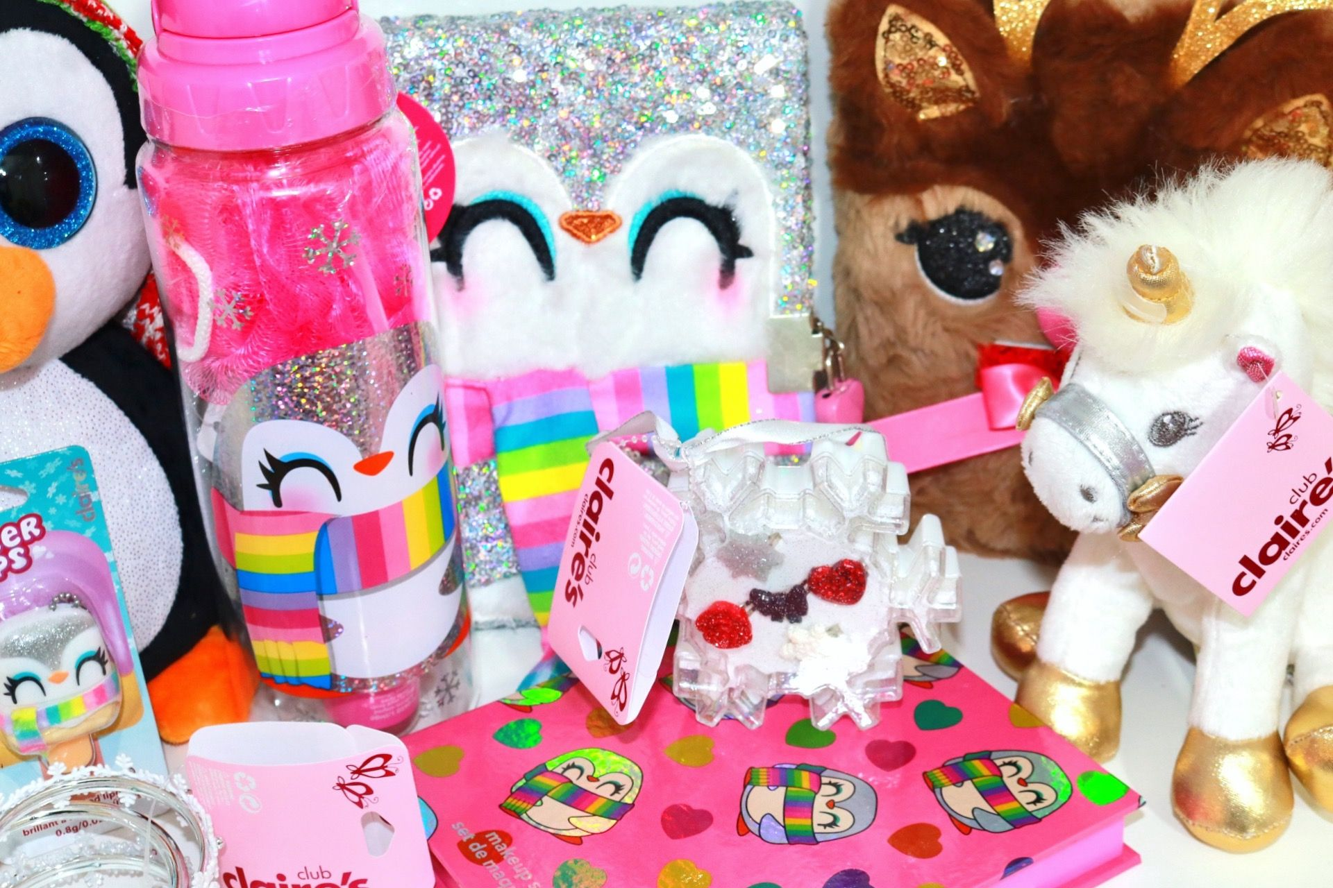 Claire's Plush Toy Unicorn, Makeup Kit, Pucker Pops, Water