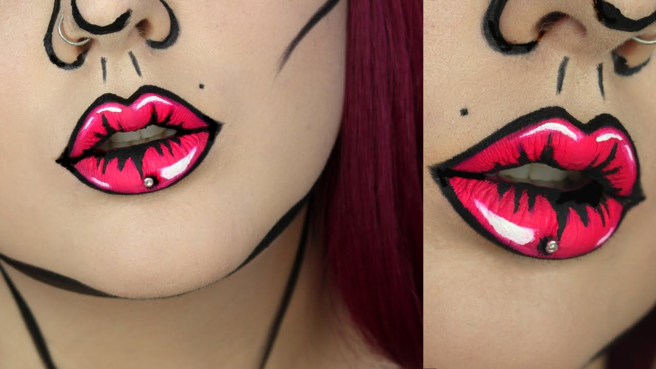 This Quick And Easy Pop Art / Cartoon Lips Makeup Tutorial